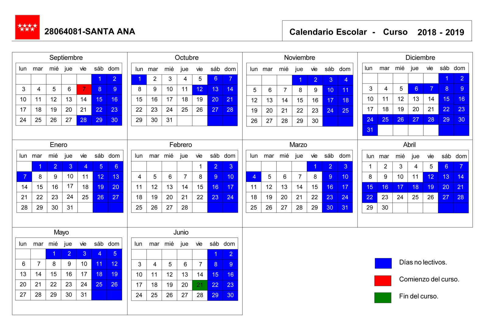 Calendario Escolar 2020 2019 Comunidad De Madrid.Calendario Escolar Cpb Santa Ana